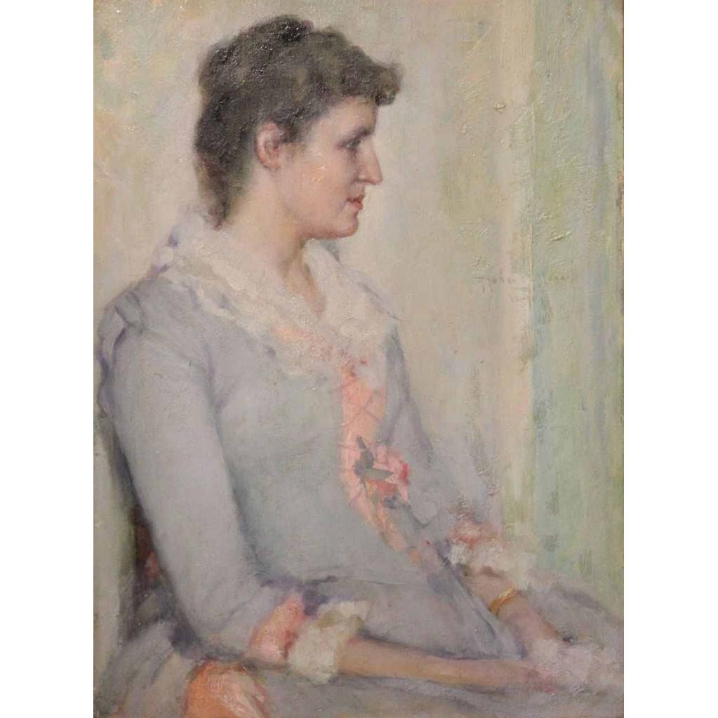 Robert Lewis Reid Oil Painting Portrait of Lucy Douglas Gillett, Westfield MA 1890