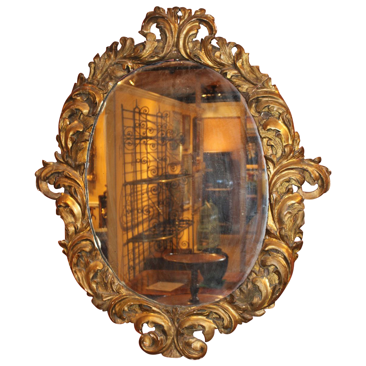 Large 18th c italian baroque oval gilt wood mirror from for Baroque oval mirror