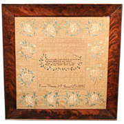 Hand Wrought Framed Sampler by Frances Williams, Mt. Vernon, 1842