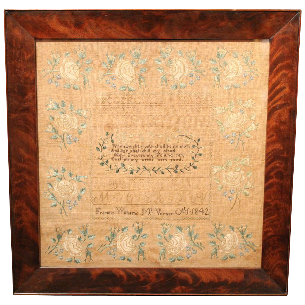 Hand Wrought Framed Sampler by Frances Williams, Mt. Vernon, 1842