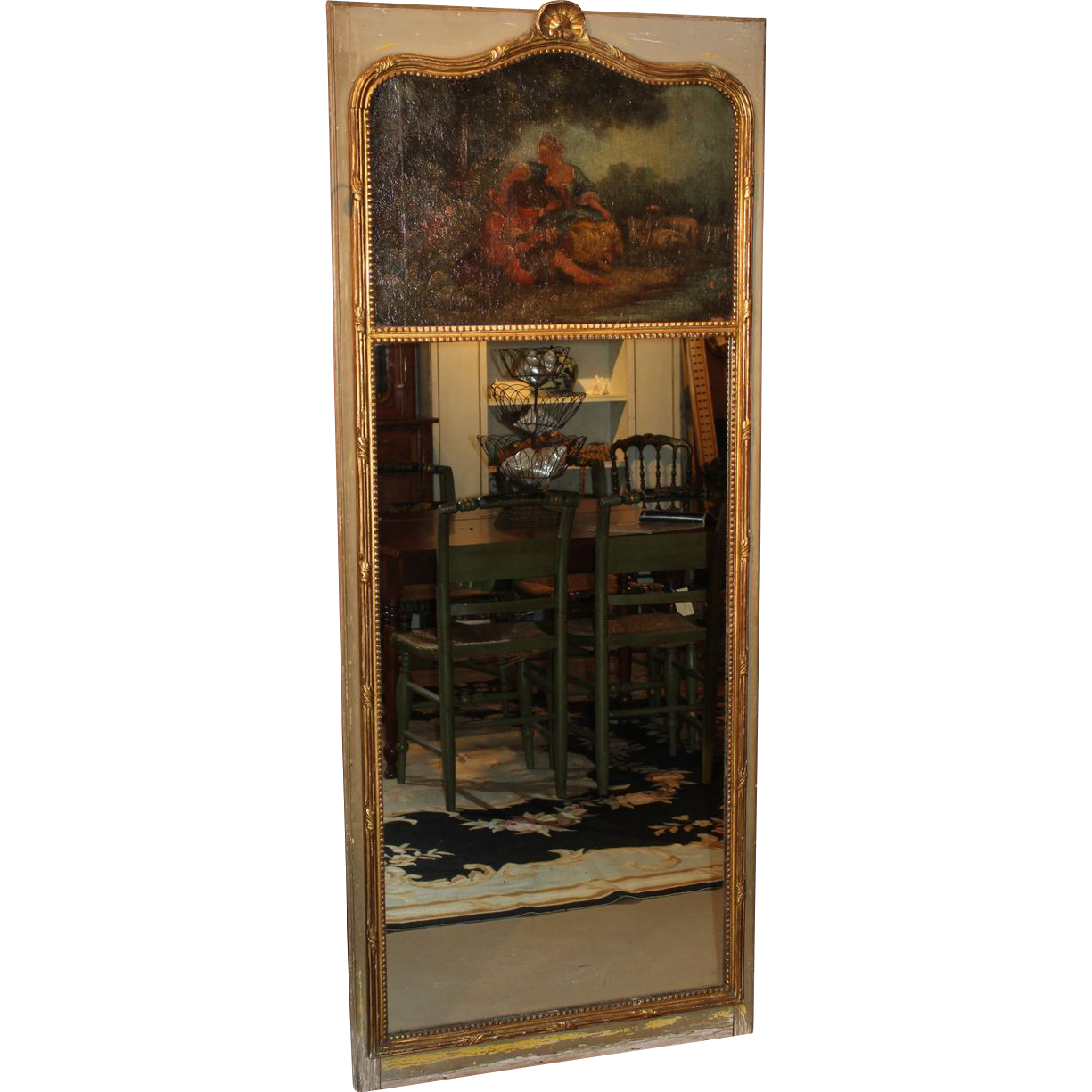 19th c French Gilt Trumeau Mirror