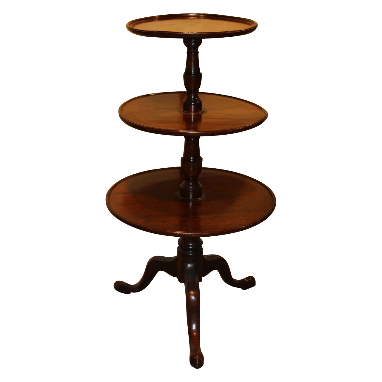 18th c English Mahogany Three-Tier Dumbwaiter