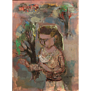 Ruth Levine Gikow Oil Painting of a Girl with a Bird