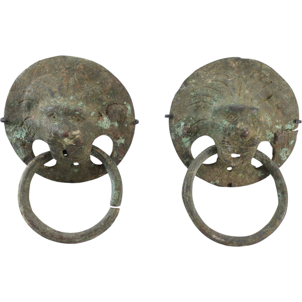 Pair of Metal Roman Lion Handles circa 3rd / 4th c A.D.