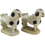 Pair of 19th c Polychrome Painted Chalkware Poodle Figures
