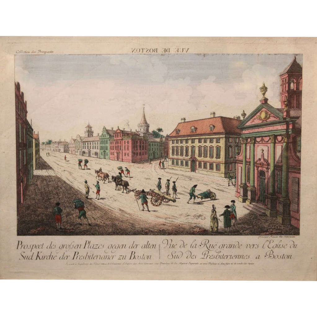 Early French Coptic Print of Boston circa 1780-1800