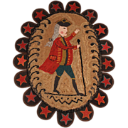 20th c Oval Hooked Rug with a Patriot Figure