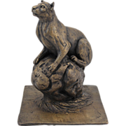 Barbara Faucher Signed Bronze Sculpture Puma on a Rock