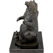 Barbara Faucher Signed Bronze Bear Conversing with the Mouse