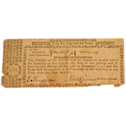 Rare 1775 New Hampshire Colonial Note 2 Shillings & 6 Pence