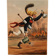 Late 19th c French Color Firefighting Lithograph Pompier de la Grand Nationale