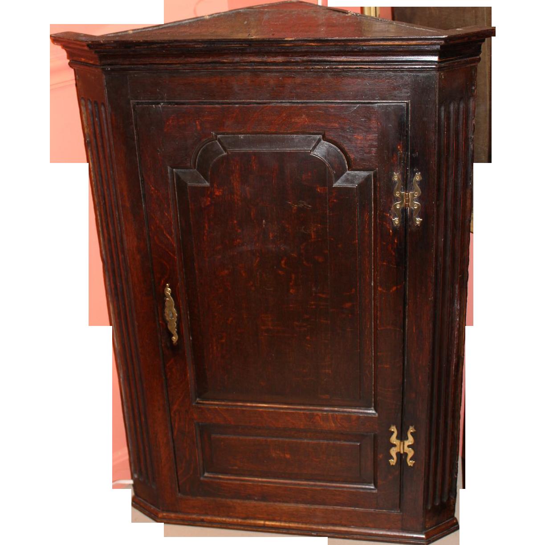 19th c English Oak Hanging Corner Cabinet