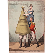 19th c Color Fire Theme Lithograph of Mrs. Clarke's Patent Extinguisher