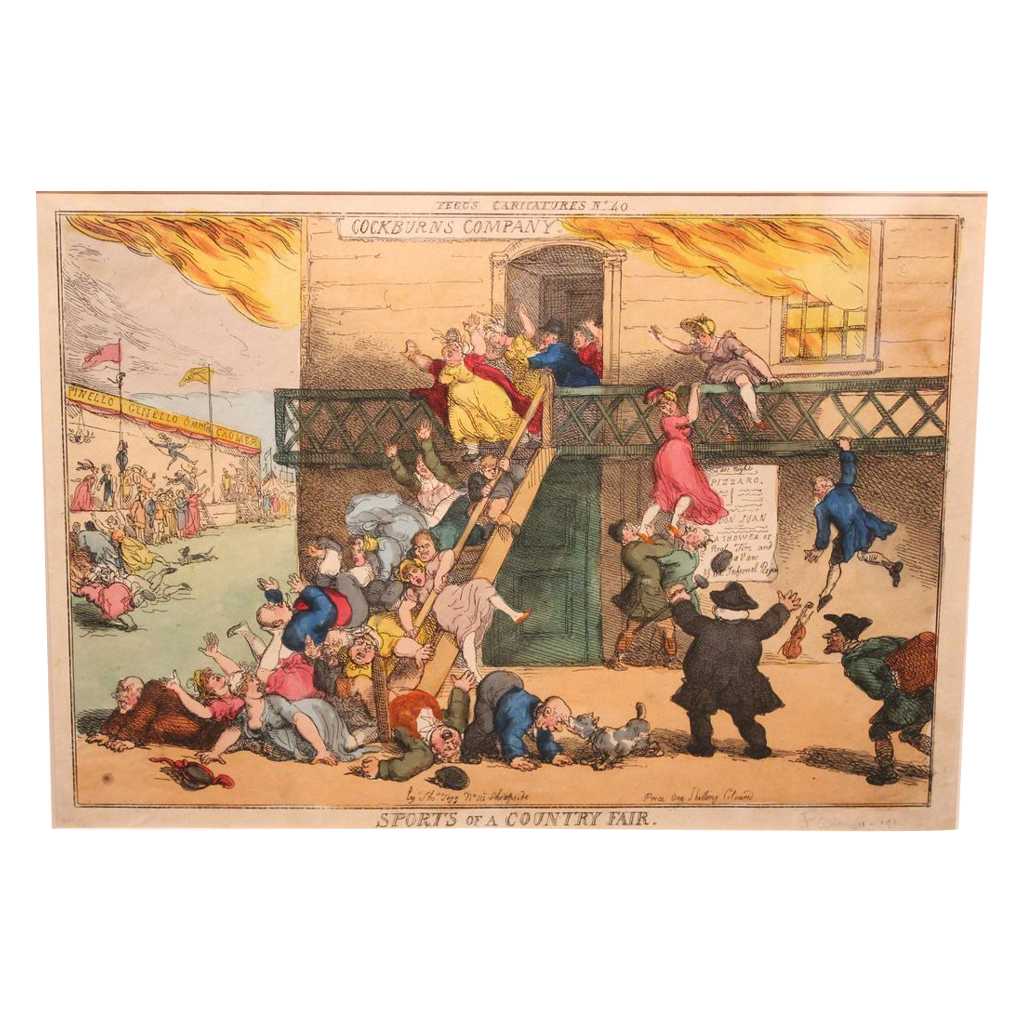 19th c English Hand Colored Fire Theme Print Sports of a Country Fair