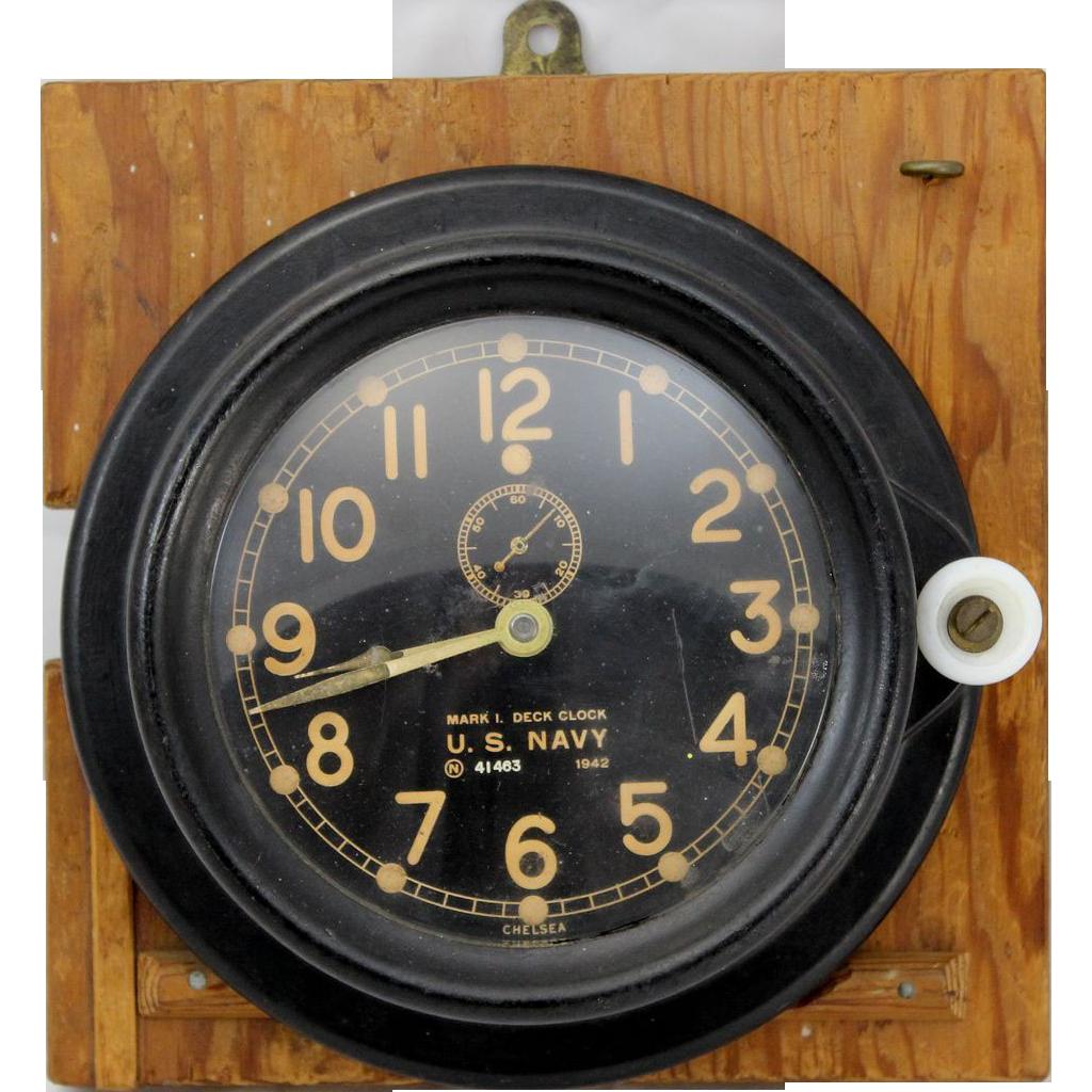 WWII U.S. Navy Chelsea Mark I Deck Clock 1942