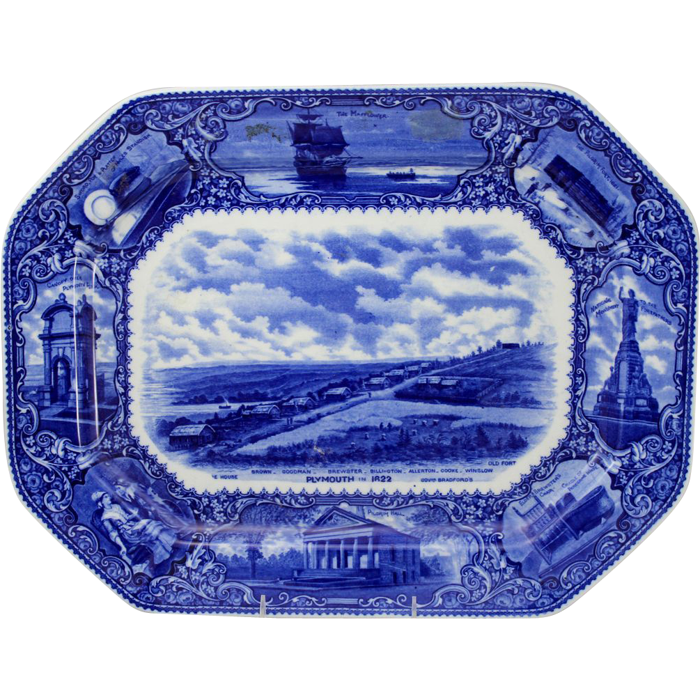 19th c English Flow Blue Transferware Historical Platter Plymouth MA