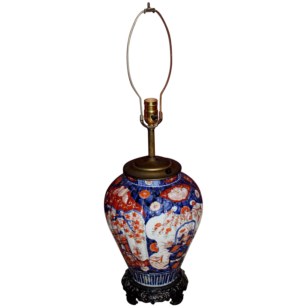Late 19th c Japanese Imari Ribbed Vase / Lamp