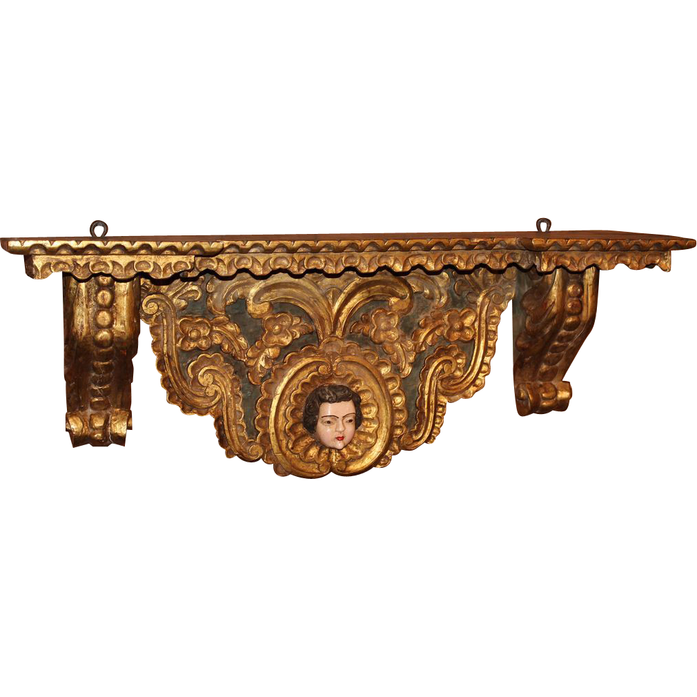 19th c Large Gilt Wood Wall Bracket with Polychrome Face