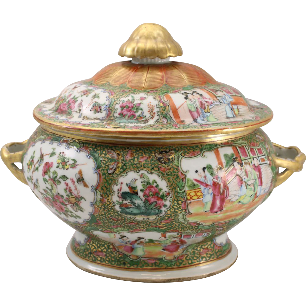 19th c Chinese Rose Medallion Covered Soup Tureen