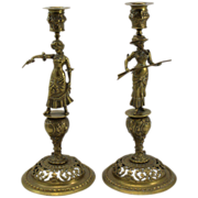 Pair of Victorian Brass Candlesticks with Annie Oakley Figures