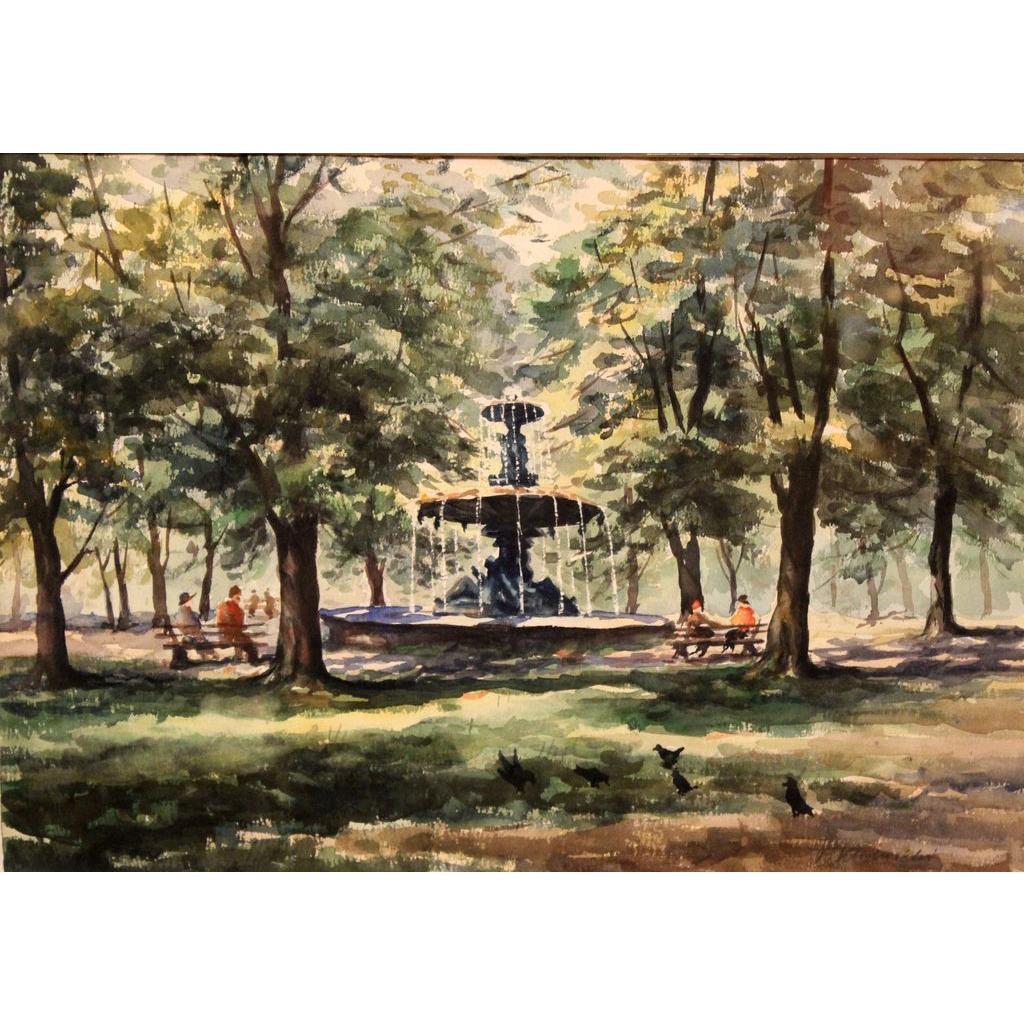 Taddeus Kladnicki 20th c Watercolor Painting of Boston