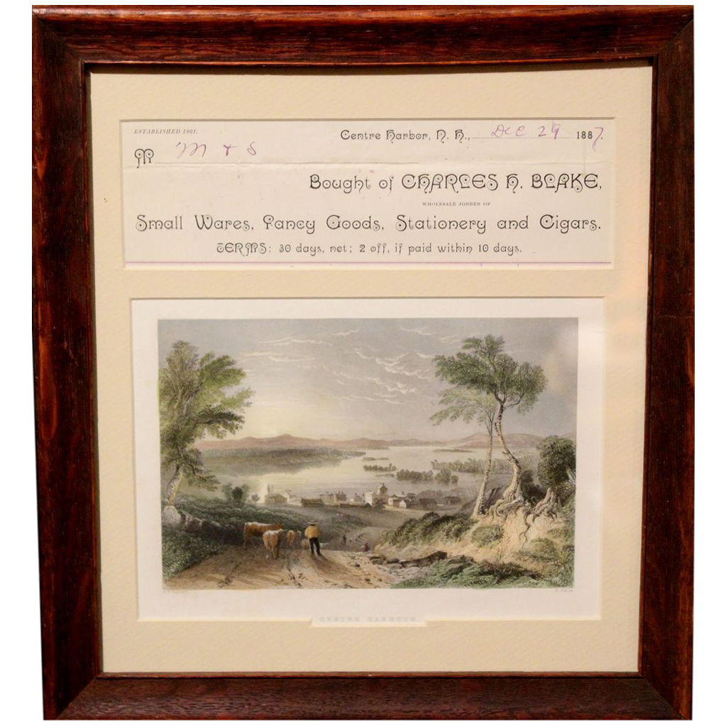 19th c Framed Print of Center Harbor, New Hampshire with Local Billhead