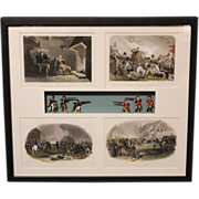 U.S. Revolutionary War Shadowbox with 4 19th c Historical Prints