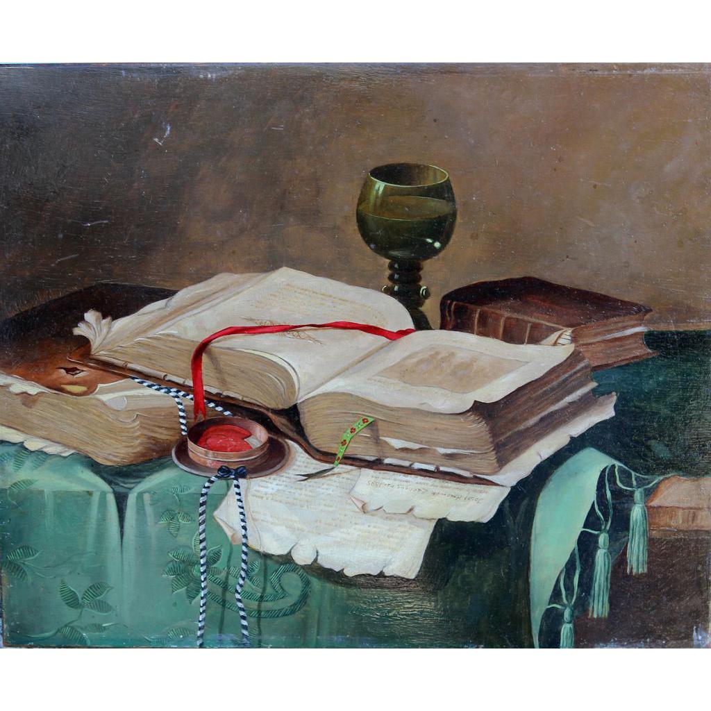Josef Kossinek Zacheus signed Trompe L'oeil Oil Painting