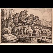 Birger Sandzen Pencil Signed Landscape Print Titled Whispering Aspens