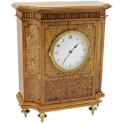 19th c German Marquetry Mantel or Shelf Clock