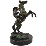 20th c Bronze Figure of Cowboy on a Rearing Horse, After Carl Kauba