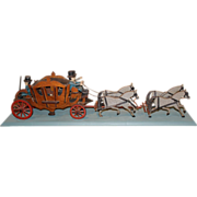 Early 20th c English Folk Art Stagecoach with Riders, Passengers, & Horses