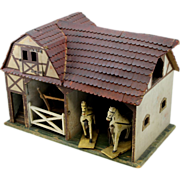Early 20th Folk Art Wooden Toy Barn with Horses and Hay Wagon