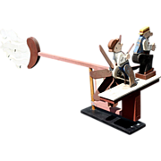 20th c Mutt and Jeff Folk Art Wooden Whirligig