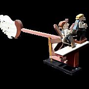 20th c Mutt and Jeff Folk Art Wooden Whirligig