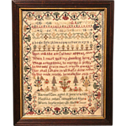 Harriet Cox Hand Wrought Polychrome Needlework Sampler 1860
