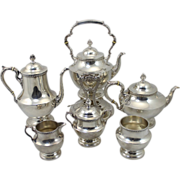 20th c Poole Georgian Pattern Sterling Silver 6 pc Tea / Coffee Service