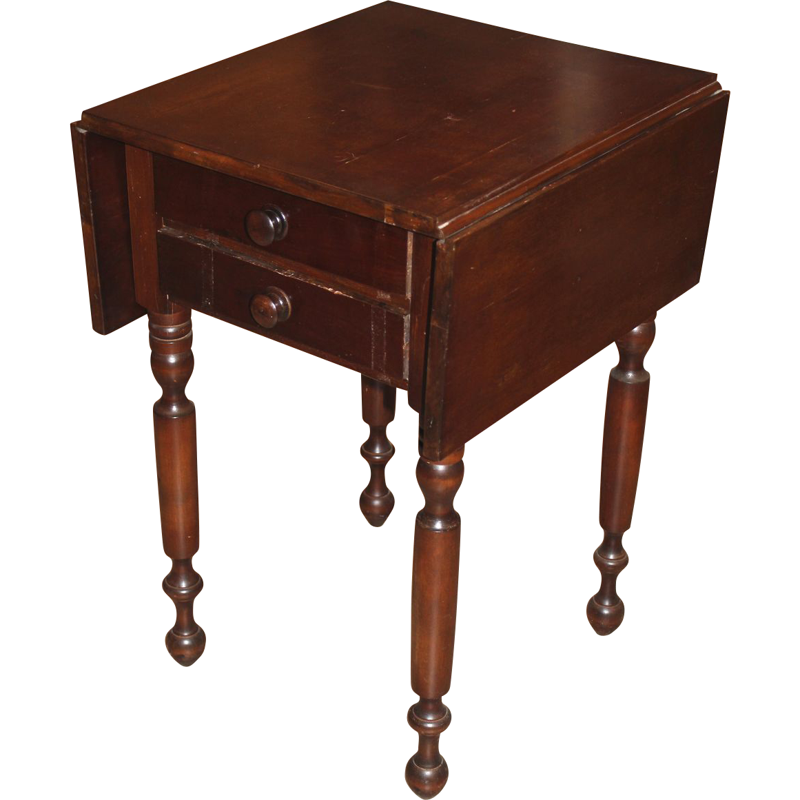 19th c mahogany two drawer drop leaf work table from for C table with drawer