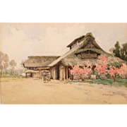 Fujio Yoshida Watercolor Painting of a Japanese Farmhouse