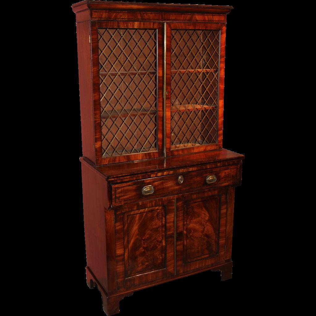 The Downing Street Executive Curio Desk: English Regency Mahogany & Ebony Secretary Desk & Bookcase