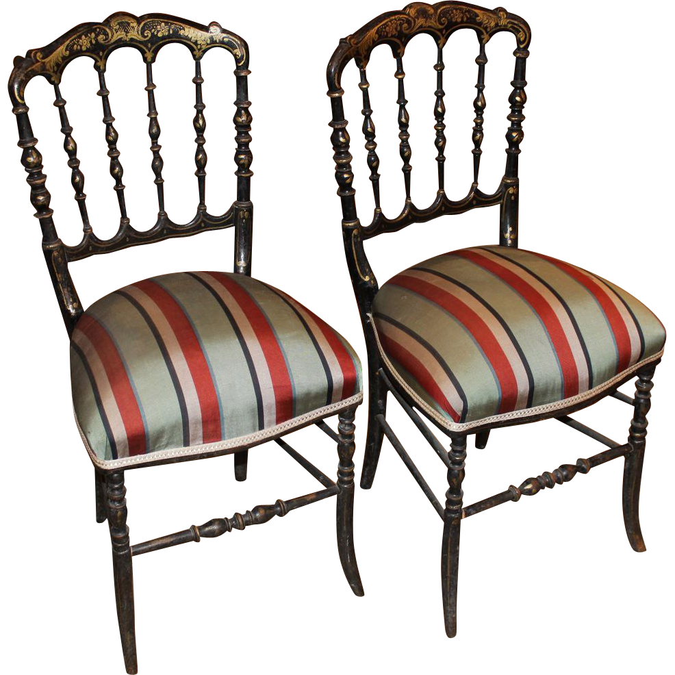 Pair of Paint Decorated 19th c English Side Chairs