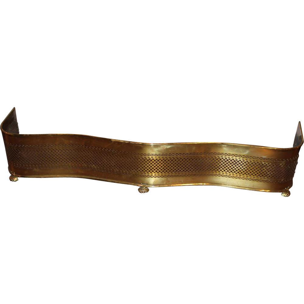19th / 20th c Brass Pierced Serpentine Fire Fender