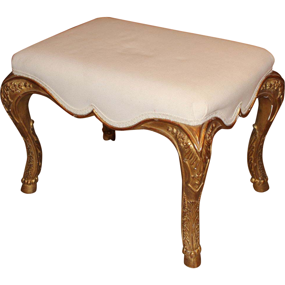 20th c Gold Gilt Upholstered Bench or Ottoman