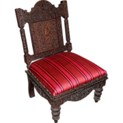19th Century Carved and Upholstered Anglo-Indian Side Chair