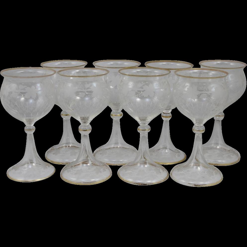 Set of Eight Venetian Stem Glasses with Gilt Banding