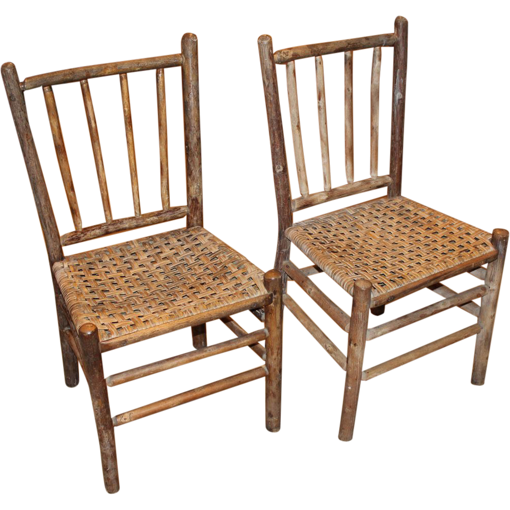 pair of signed old hickory side chairs with splint woven seats - Old Hickory Furniture