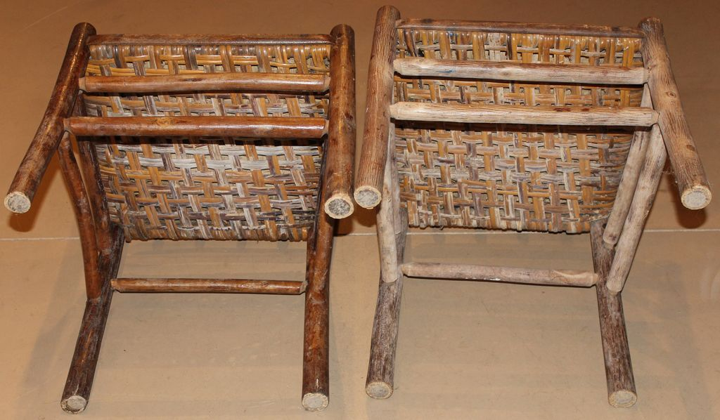 Roll over Large image to magnify, click Large image to zoom - Pair Of Signed Old Hickory Side Chairs With Splint Woven Seats