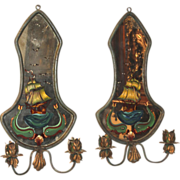 Mirrored and Polychrome Two Light Sconces with Maritime Motif