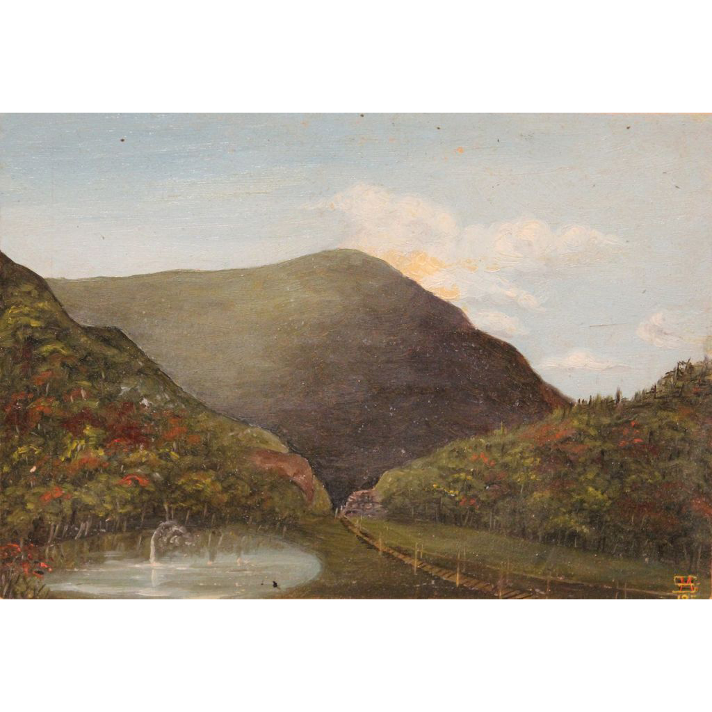 19th c White Mountain School Oil Painting Crawford Notch with Elephant's Head NH