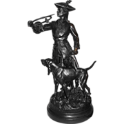 After H.F. Moreau & P. Lecourtier, figural bronze of Hunter and the Hounds